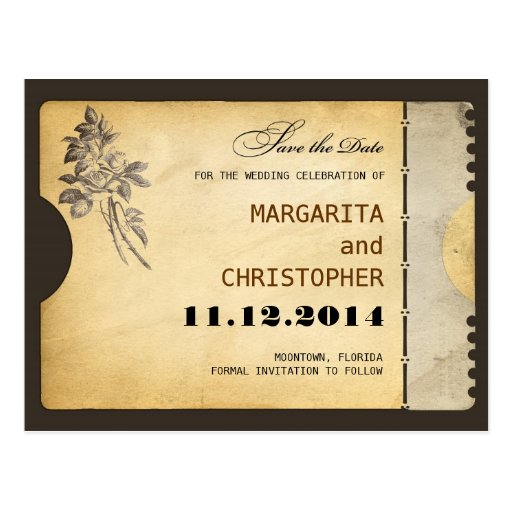 save the date vintage typography style postcards