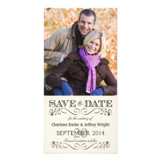 Save the Date Vintage White Wedding Photocards Photo Card Template