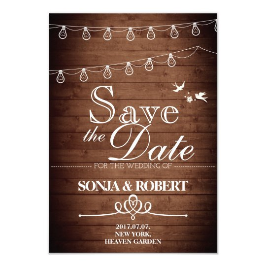 Save the Date - Vintage Wood, Doves, Light String Card