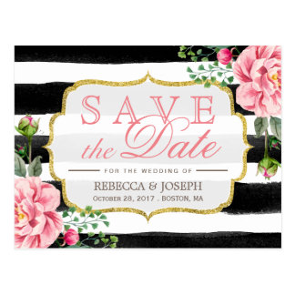 Save the Date Watercolor Blush Pink Floral Stripes Postcard