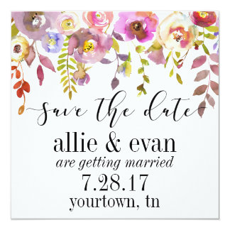 Save the Date Watercolor Floral Blush Backdrop Card