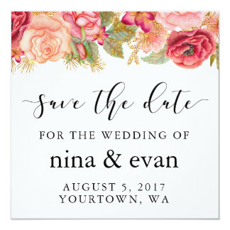 Save the Date Watercolor Floral Frame Pink Gold Card