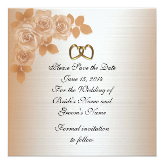 "Save the date Wedding announcement elegant roses 5.25"" Square Invitation Card"
