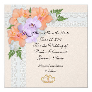 Save the date Wedding announcement orchids
