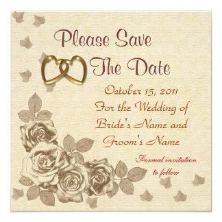 "Save the date Wedding announcement sketched roses 5.25"" Square Invitation Card"