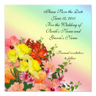 Save the date Wedding announcement Spring flowers