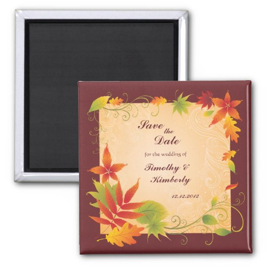 Save the Date wedding autumn fall leaves magnet