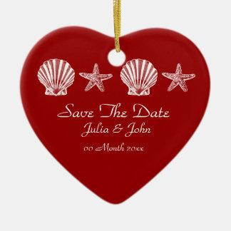 Save The Date wedding beach theme announcement Ceramic Heart Decoration