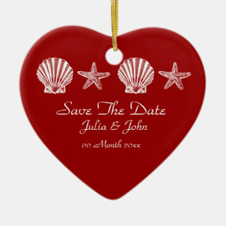 Save The Date wedding beach theme announcement Christmas Ornament