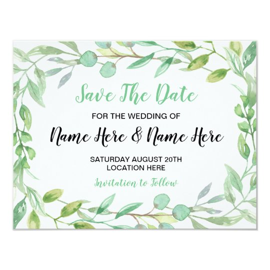 Save The Date Wedding Card Nature Green Leaves