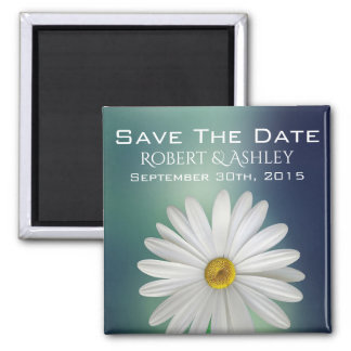 Save The Date Wedding Daisy Square Magnet