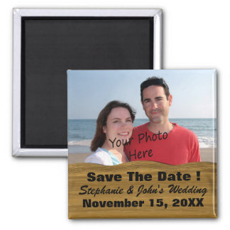 Save The Date Wedding Etc. Wood Look Border Photo Square Magnet
