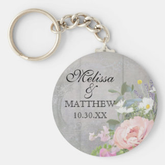 Save the Date Wedding Favors Rustic Wood Floral Basic Round Button Key Ring