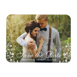 Save The Date Wedding Floral Trim Photo Magnet