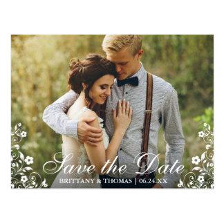 Save The Date Wedding Floral Trim Photo Postcard