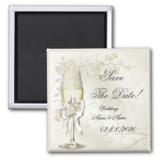 Save The Date Wedding Gold Cream Pearl Floral Rose Square Magnet