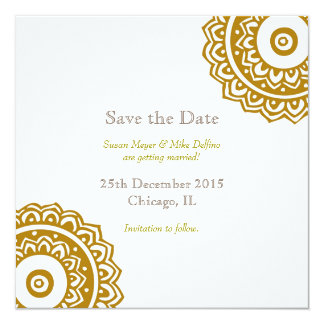 Save the date wedding invitation card gold white