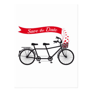 Save the date wedding invitation tandem bicycle post cards