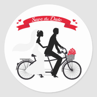 Save the date, wedding invitation tandem bicycle round sticker
