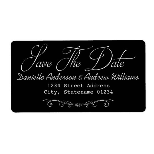 SAVE THE DATE WEDDING LABEL BLACK AND WHITE SHIPPING LABEL