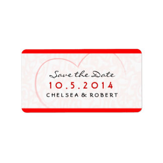 Save the Date - Wedding Label - Red & Pink-  Heart Address Label