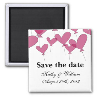 Save the date wedding magnet |  red heart balloons