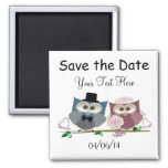 Save the Date Wedding Owls Art Magnet