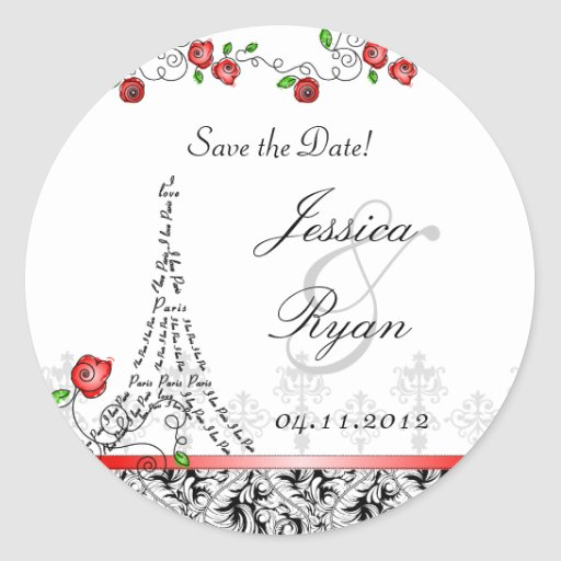 Save the Date Wedding Paris Black White Red Xmas Round Sticker