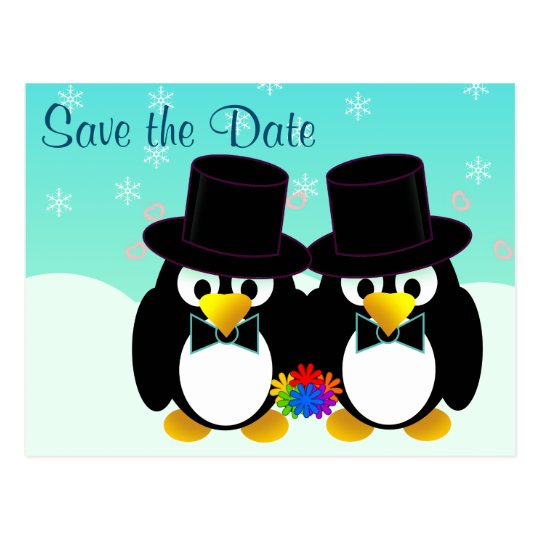 Save the Date Wedding Penguins Postcard