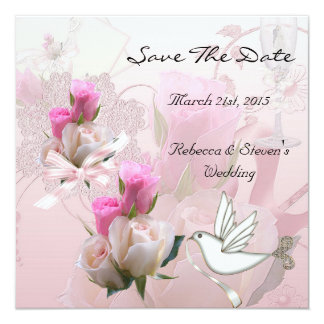 Save The Date Wedding Pink White Flowers Dove Card