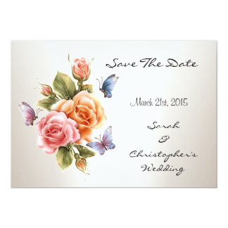 """Save The Date Wedding Pretty Pink Roses Floral 5"""" X 7"""" Invitation Card"""