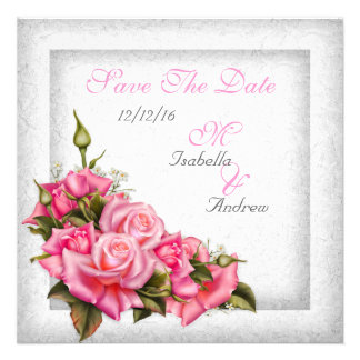 Save The Date Wedding Pretty Pink Roses White Custom Invite