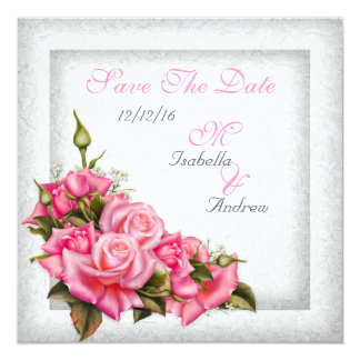 """Save The Date Wedding Pretty Pink Roses White 5.25"""" Square Invitation Card"""