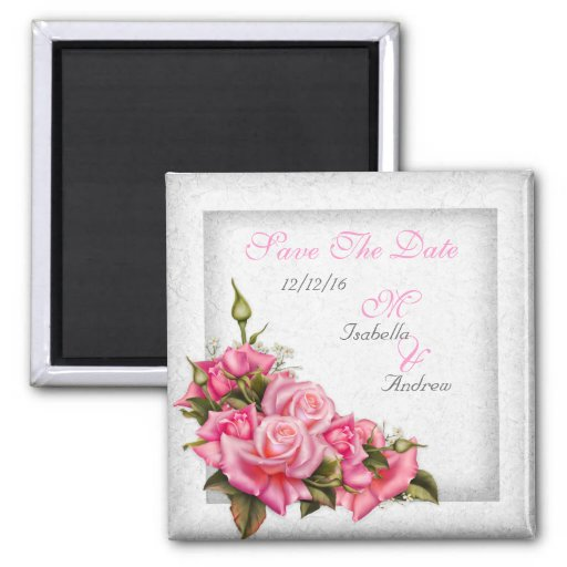 Save The Date Wedding Pretty Pink Roses White Refrigerator Magnet