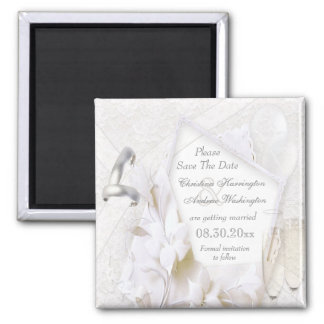 Save The Date Wedding Rings & Champagne Flutes Square Magnet