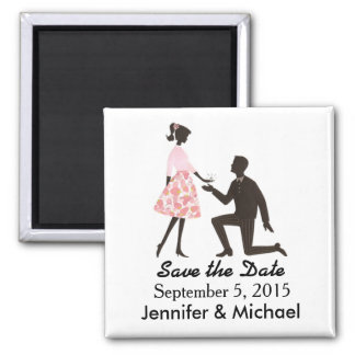 Save the Date wedding square magnet