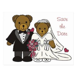 Save the Date Wedding Teddy Bear Postcard