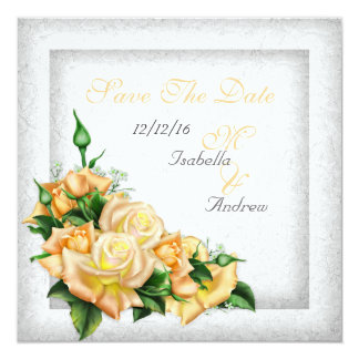 """Save The Date Wedding White Gold Yellow Green Rose 5.25"""" Square Invitation Card"""