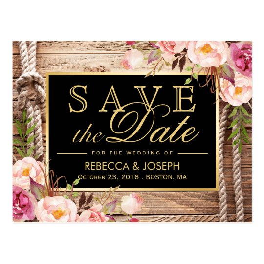 Save the Date Western Rustic Country Wood Floral