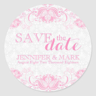 Save The Date White Damasks & Pink Lace Round Sticker
