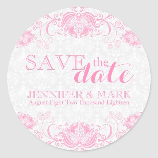 Save The Date White Damasks & Pink Lace