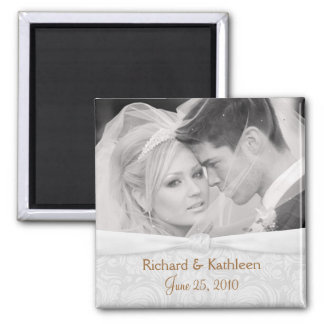 Save the Date - White-on-White Wedding Photo Square Magnet