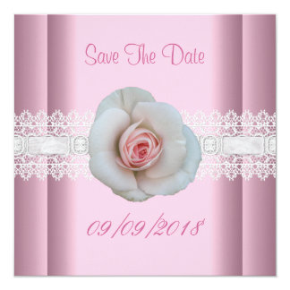 Save The Date White Pink Rose Flower Lace 13 Cm X 13 Cm Square Invitation Card