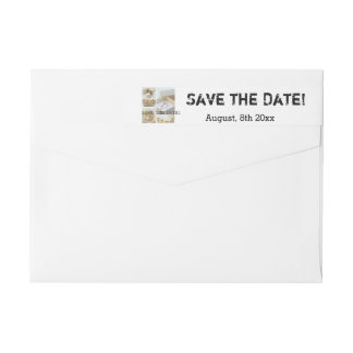 Save the Date White Wedding Collage Wrap Around Label