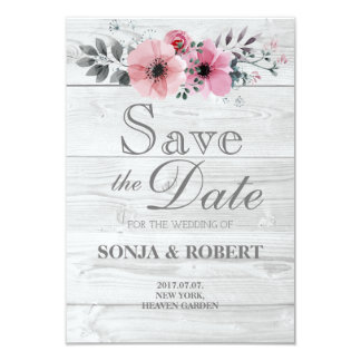 Save the Date - White wood pastel pink flowers Card