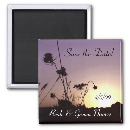 Save the Date Wild Flowers Sunset Magnet