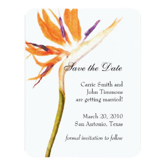 Save the Date with Bird of Paradise 11 Cm X 14 Cm Invitation Card
