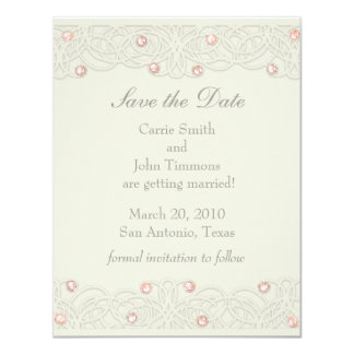 Save the Date with Coral Crystals 11 Cm X 14 Cm Invitation Card
