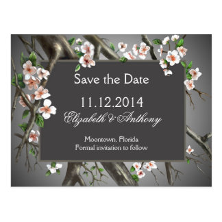 save the date with elegant white blossoms postcard