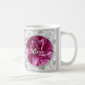 Save the Date with Pearls and Pink Floral Design Basic White Mug
